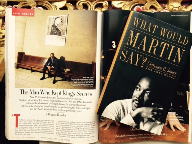 Clarence-Jones article from Vanity Fair and Cover of What would Martin Say Book